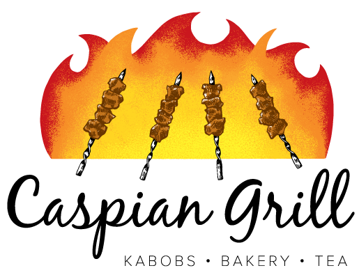 Stylized flames and kebab logo for Caspian Grill