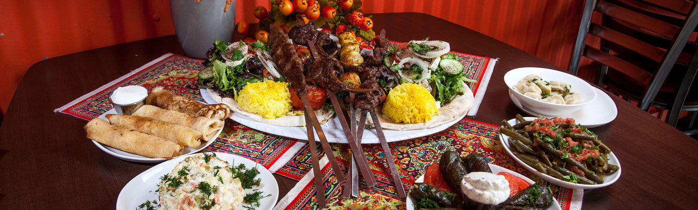 A spread of Middle Eastern dishes