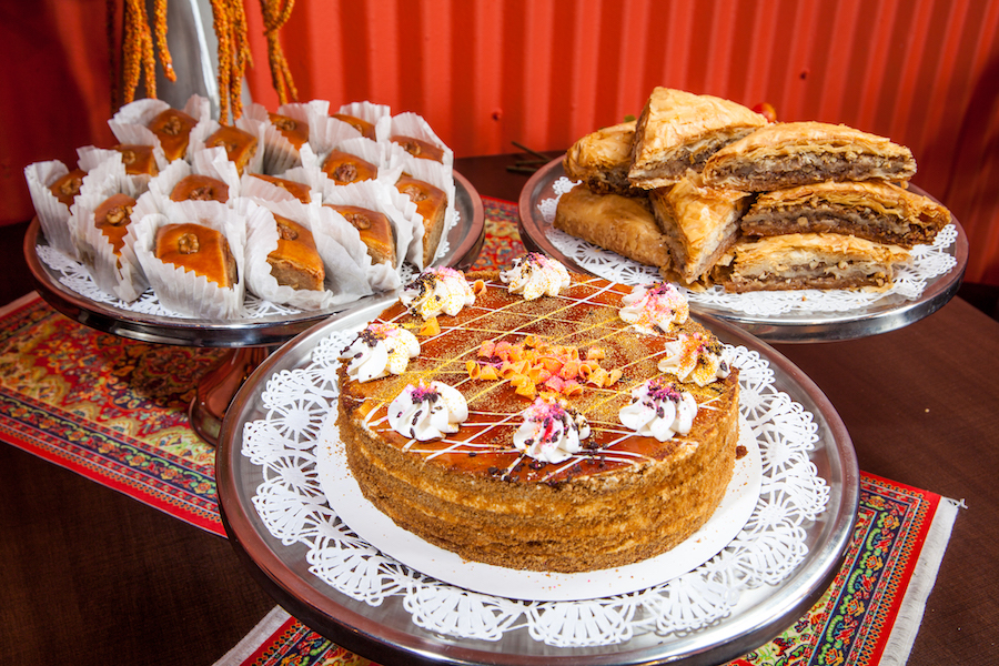 Assorted desserts on a table